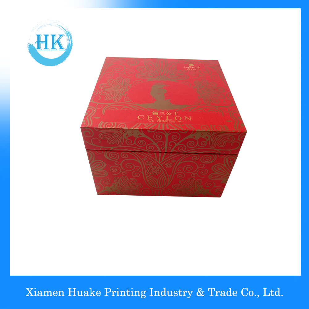Red Rigid Display Packaging Box With Ribbon